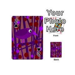 Sweet Purple Bird Playing Cards 54 (mini)  by Valentinaart