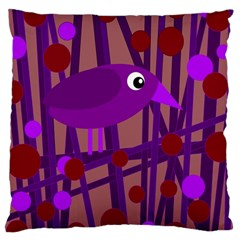 Sweet Purple Bird Large Cushion Case (one Side) by Valentinaart