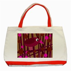Cute Magenta Bird Classic Tote Bag (red) by Valentinaart