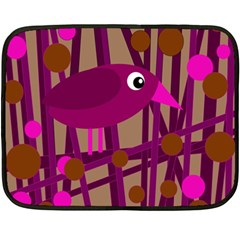 Cute Magenta Bird Fleece Blanket (mini) by Valentinaart