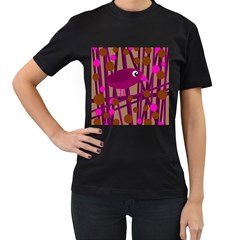 Cute magenta bird Women s T-Shirt (Black)