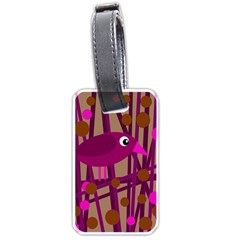 Cute magenta bird Luggage Tags (One Side)  by Valentinaart
