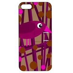 Cute Magenta Bird Apple Iphone 5 Hardshell Case With Stand by Valentinaart