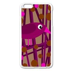 Cute Magenta Bird Apple Iphone 6 Plus/6s Plus Enamel White Case by Valentinaart