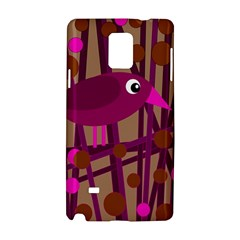 Cute Magenta Bird Samsung Galaxy Note 4 Hardshell Case by Valentinaart
