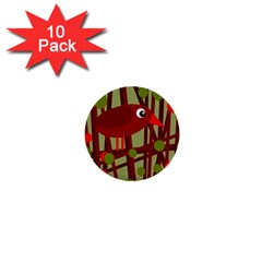 Red Cute Bird 1  Mini Buttons (10 Pack)  by Valentinaart
