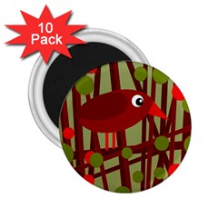 Red Cute Bird 2 25  Magnets (10 Pack)  by Valentinaart
