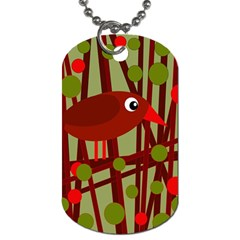Red Cute Bird Dog Tag (one Side) by Valentinaart