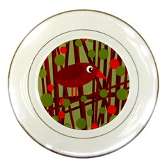 Red Cute Bird Porcelain Plates by Valentinaart
