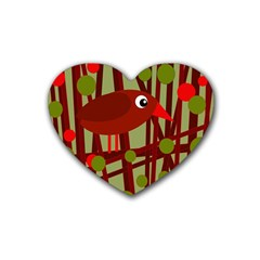 Red Cute Bird Rubber Coaster (heart)  by Valentinaart