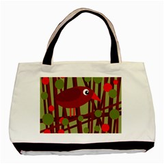 Red Cute Bird Basic Tote Bag (two Sides) by Valentinaart