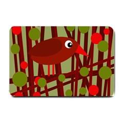 Red Cute Bird Small Doormat  by Valentinaart