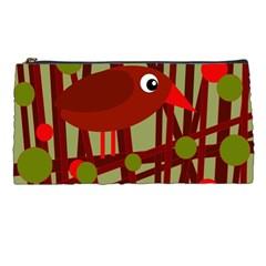 Red Cute Bird Pencil Cases by Valentinaart