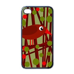 Red Cute Bird Apple Iphone 4 Case (black) by Valentinaart