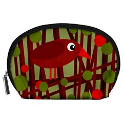 Red Cute Bird Accessory Pouches (large)  by Valentinaart