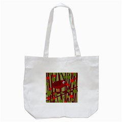 Red Cute Bird Tote Bag (white) by Valentinaart