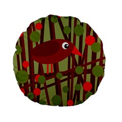 Red cute bird Standard 15  Premium Flano Round Cushions by Valentinaart