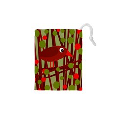 Red Cute Bird Drawstring Pouches (xs)  by Valentinaart