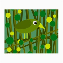 Cute Green Bird Small Glasses Cloth (2 Side) by Valentinaart
