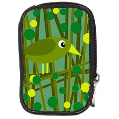 Cute Green Bird Compact Camera Cases by Valentinaart