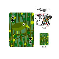 Cute green bird Playing Cards 54 (Mini)  by Valentinaart