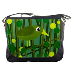 Cute Green Bird Messenger Bags by Valentinaart