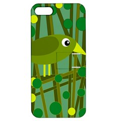 Cute Green Bird Apple Iphone 5 Hardshell Case With Stand by Valentinaart