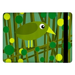 Cute Green Bird Samsung Galaxy Tab Pro 12 2  Flip Case by Valentinaart