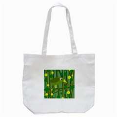 Cute Green Bird Tote Bag (white) by Valentinaart