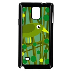 Cute Green Bird Samsung Galaxy Note 4 Case (black) by Valentinaart
