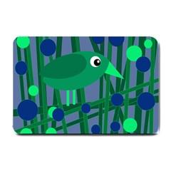 Green And Blue Bird Small Doormat  by Valentinaart