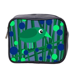 Green And Blue Bird Mini Toiletries Bag 2 Side by Valentinaart