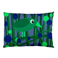 Green And Blue Bird Pillow Case (two Sides) by Valentinaart