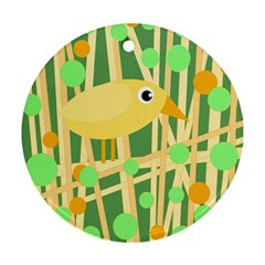 Yellow little bird Round Ornament (Two Sides)