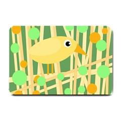 Yellow Little Bird Small Doormat  by Valentinaart