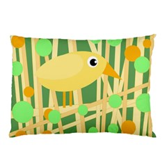 Yellow Little Bird Pillow Case by Valentinaart
