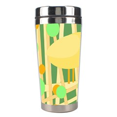 Yellow Little Bird Stainless Steel Travel Tumblers by Valentinaart