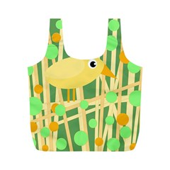 Yellow Little Bird Full Print Recycle Bags (m)  by Valentinaart