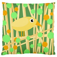 Yellow Little Bird Large Flano Cushion Case (one Side) by Valentinaart