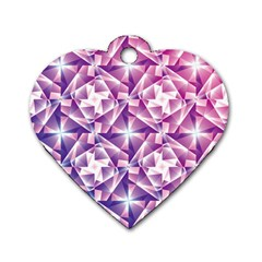Purple Shatter Geometric Pattern Dog Tag Heart (Two Sides) by TanyaDraws