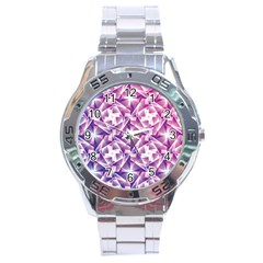 Purple Shatter Geometric Pattern Stainless Steel Analogue Watch by TanyaDraws