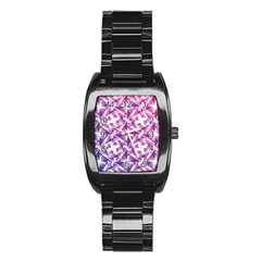 Purple Shatter Geometric Pattern Stainless Steel Barrel Watch by TanyaDraws