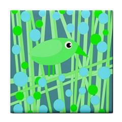 Green Bird Tile Coasters by Valentinaart