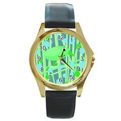 Green Bird Round Gold Metal Watch by Valentinaart