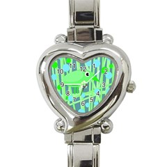 Green Bird Heart Italian Charm Watch by Valentinaart