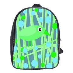 Green Bird School Bags (xl)  by Valentinaart