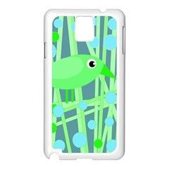 Green Bird Samsung Galaxy Note 3 N9005 Case (white) by Valentinaart