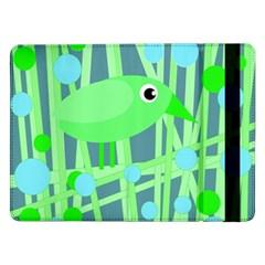 Green Bird Samsung Galaxy Tab Pro 12 2  Flip Case by Valentinaart