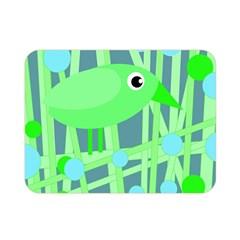 Green Bird Double Sided Flano Blanket (mini)  by Valentinaart