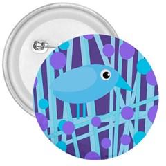 Blue And Purple Bird 3  Buttons by Valentinaart